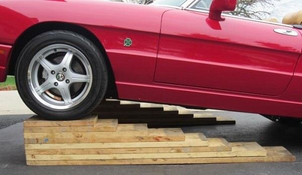 Wooden car ramp.